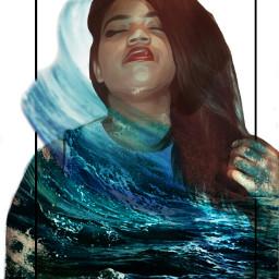 wapshapes waves ocean doubleexposure doubleexposureedit