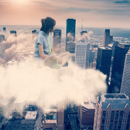 freetoedit cloud girl city clouds