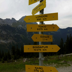 travel home signpost mountains alps