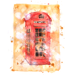 watercolor london telephonebox sketch sketchbook