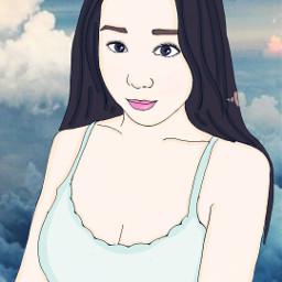 followcookie selfie blue sky girl