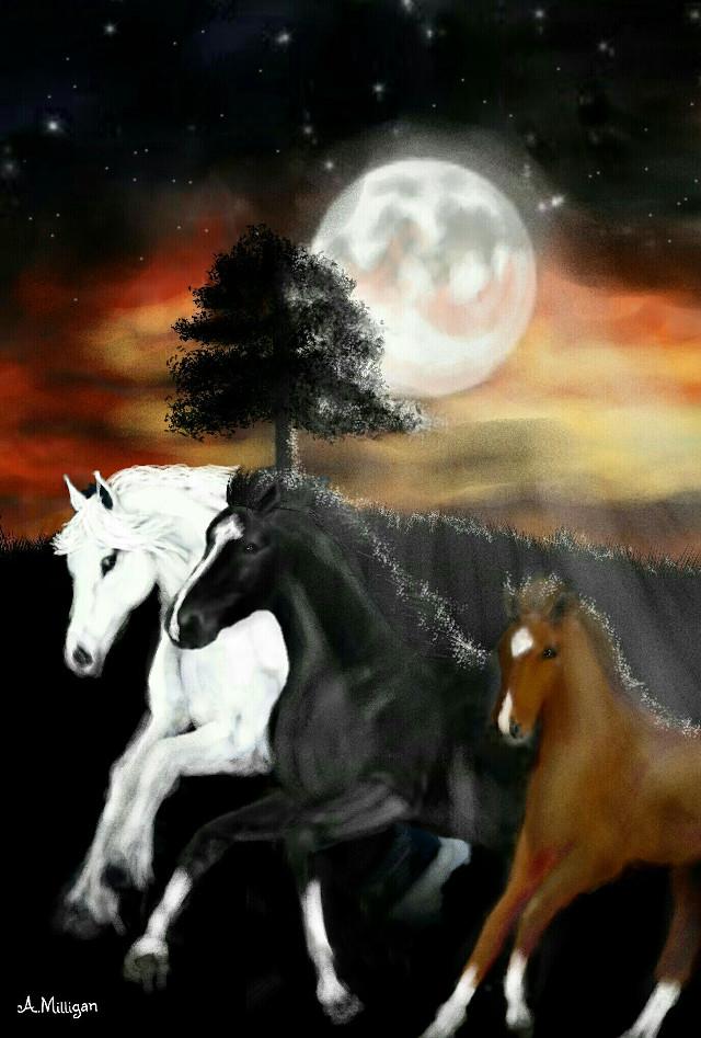 "#wdpnightsky  ""Night race""  #colorful  #colorsplash  #nightsky  #horses  #galloping  #draw 😊💚❤🐎"
