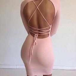 eveningwear gown pink crisscross tan