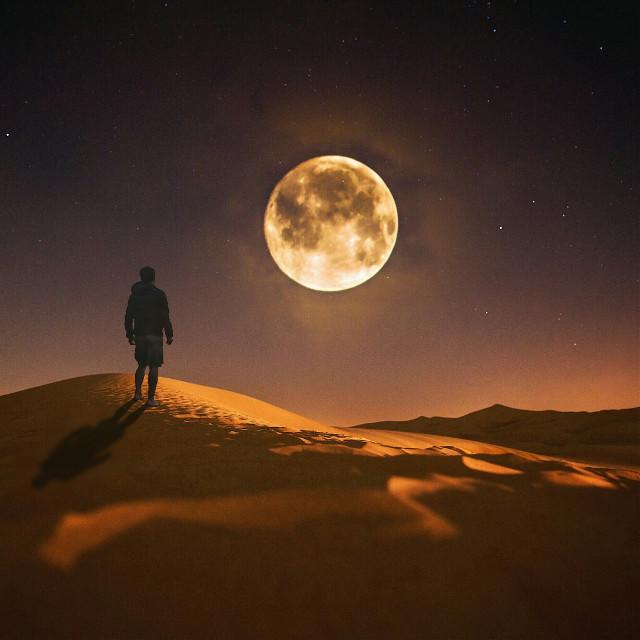 Shining bright.  #moon #desert #shadow #edited #surreal #surrealism  op: unsplash.com