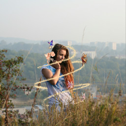 nature sparkler woman grass hills freetoedit
