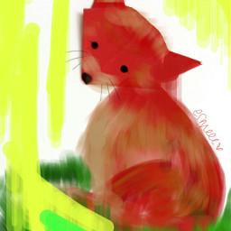 freetoedit fox cute art yellow