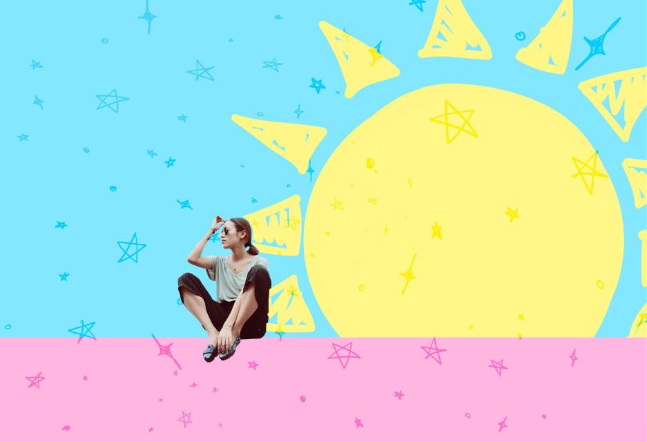 #FreeToEdit #sun #girl #blue #pink #yellow  #stars